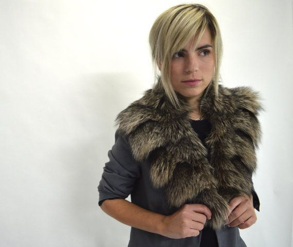 Real fur collar fox collar silver fox fur collar. Genuine by BeFur