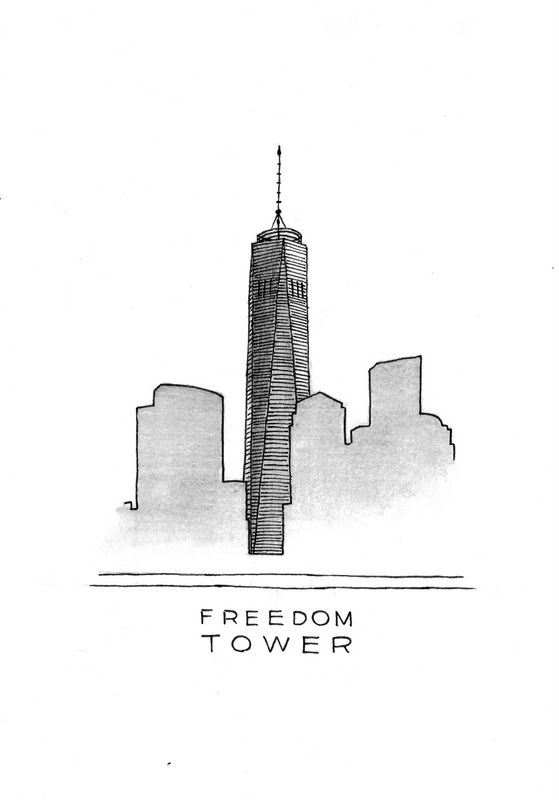 The Freedom Tower art print. I love the modern design of this awesome tall skyscraper in the Manhattan skyline. Now on an art print for download. #DrawTheGlobe #poster #design #drawing #art #minimalist #newyork #manhattan #flatironbuilding #architecture #ink #black_and_white #buildings #etsy
