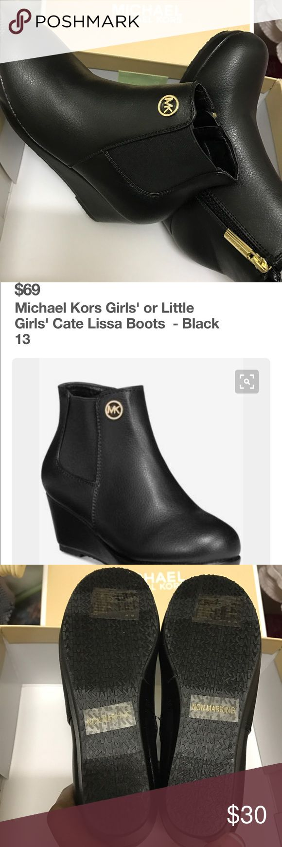 👞Michael Kors👞 Girls Cate' Lissa Black Boots NWT- Michael Kors, Girls Cate' Lissa. Size 13, Black Boots. Brand new, never worn. Comes in original box. Purchased from Dillard's for my little girl but they are too small now for her. Bundle and save. Please feel free to make an offer, using the offer tab. Thank you and happy shopping. MICHAEL Michael Kors Shoes Boots
