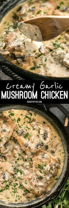 A simple pan sauce saves the day in this quick and easy Creamy Garlic Mushroom Chicken! BudgetBytes.com