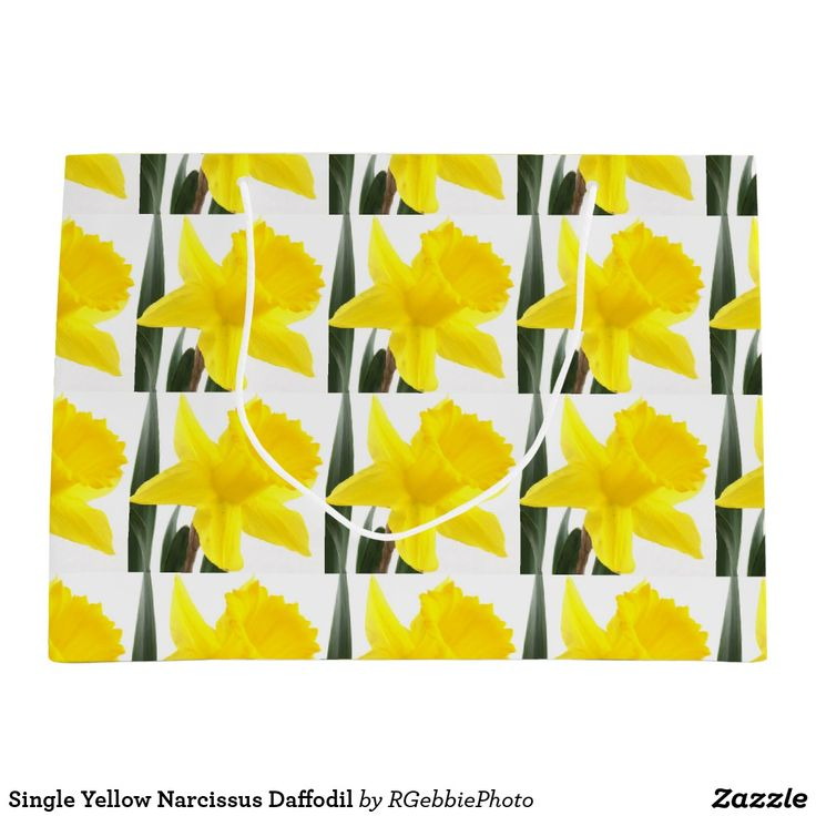 Single Yellow Narcissus Daffodil Large Gift Bag - $12.85 - Single Yellow Narcissus Daffodil Large Gift Bag - by #RGebbiePhoto @ #zazzle - #Daffodil #Yellow #Flowers - A vibrant yellow narcissus daffodil over white. Personalize this line with customizable Monogram! Add Your initial to customize! Symbolizing rebirth and new beginnings, the daffodil is virtually synonymous with spring. Though their botanic name is narcissus, daffodils are sometimes called jonquils, and in England, because of…