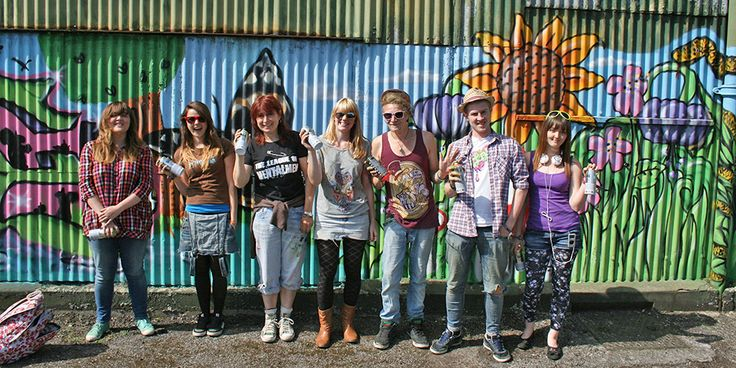 A Spray Painted Graffiti Mural Created By Art Students In