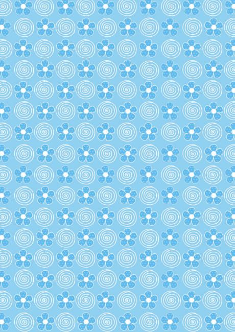 Flores azules y remolinos de papel del libro de recuerdos