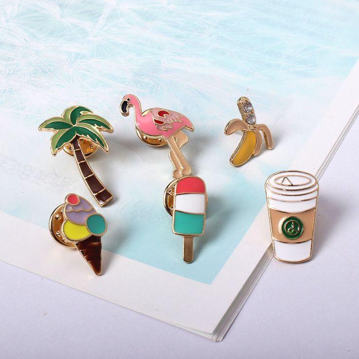 Bán buôn thời trang phụ kiện nhà sản xuất Mùa Hè cảm giác ham mê cây Dừa flamingos cà phê chén vui vẻ pin phù hiệu brooch