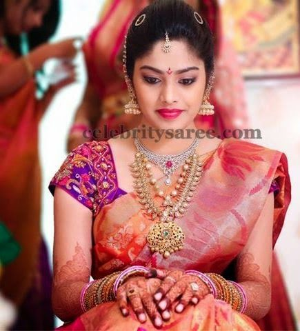 Bride in Purple Thread Work Blouse | Saree Blouse Patterns