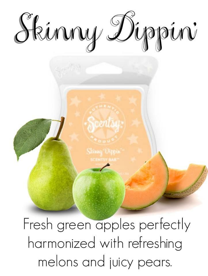 Skinny Dippin' Scentsy Bar. Scentsy - We Make Perfect scents! With each Scentsy bar you can mix and match and make your own favorite scent. Be creative! Here is a few that I think you may enjoy. Scentsy Fragrances flameless wax warmers are a great alternative to candles the perfect gift idea! Scentsy website: https://LindaGinther.scentsy.us
