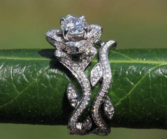 Platinum - BLOOMING Work Of Art - Flower Leaf Rose Lotus Diamond Engagement Wedding Ring Set - No Milgrain - brides - fL07