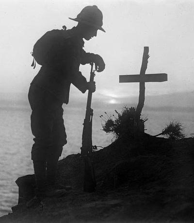 A British soldier visits a friend. Gallipoli, 1915.   Ernest Brooks