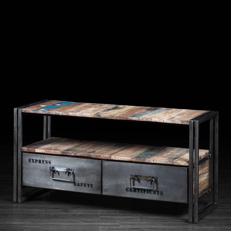 petit meuble t l vison 2 tiroirs en m tal et bois recycl. Black Bedroom Furniture Sets. Home Design Ideas