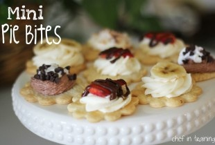 Mini Pie Bites  April 9, 2012 ᛫filed under: appetizer, dessert, easy, pie, sweet, treat ᛫ by: Chef in Training 30    I am always trying to think or come up with fun party finger foods that would be great for a variety of occasions…. bridal showers, baby showers, birthday parties…    People are always looking for the easy to get and eat foods.      This recipe would definitely fit that description.     These little pie bites are SO EASY to throw together and look so cute and gourmet!    I did…
