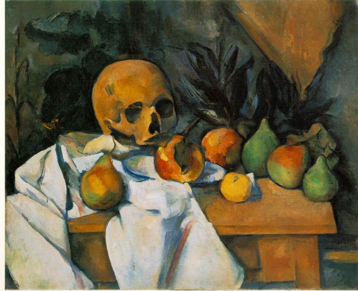 Cezanne-Still Life with Skull (Nature morte au crane).  The foreground is pretty, inviting.  The background, vaugely foreboding.