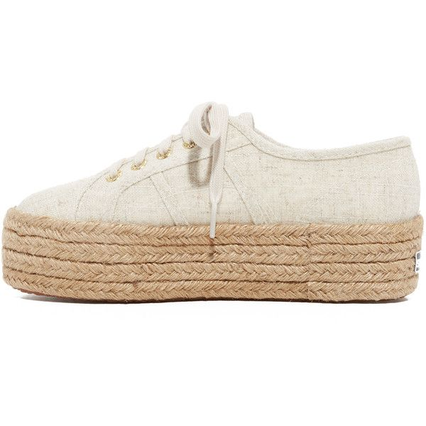 Superga 2790 Linen Platform Espadrille Sneakers (5,205 DOP) ❤ liked on Polyvore featuring shoes, sneakers, platform lace up shoes, crepe sole shoes, platform espadrilles, laced shoes and espadrille sneakers