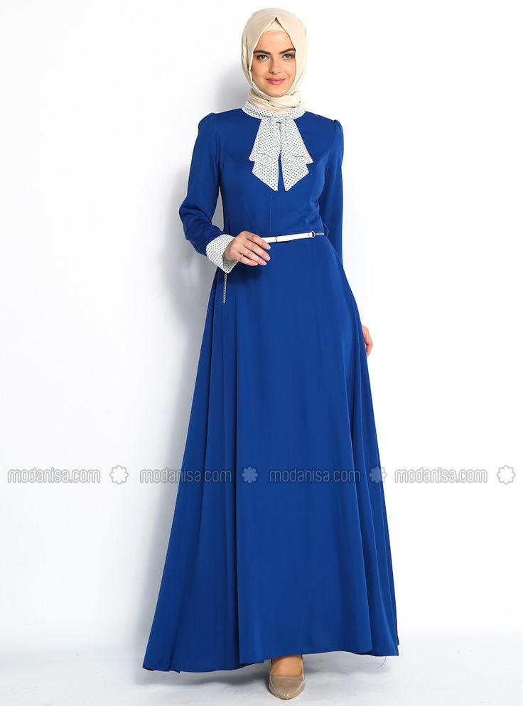 Küçük Puantiyeli Elbise - Saks - Modaysa