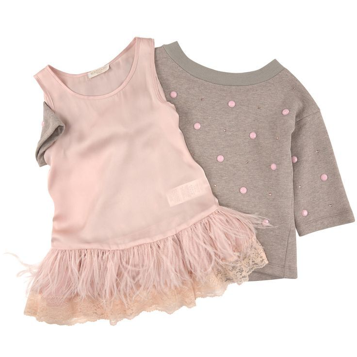 Monnalisa Sleeveless satin dress and light fleece sweatshirt with rhinestones Pink - 96403 | Melijoe.com