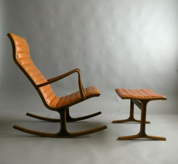 RESERVED /// Rare 60s Heron Rocking Chair and Ottoman For Tendo Mokko ...