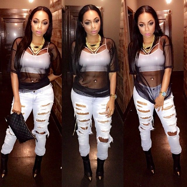 Streetwear Pretty Girl Swag Urban Fashion Causal Style Mesh Top Ripped Denim White Jeans Ankle Pointy Boots Clutch Necklace Chain Jewellery Belly Piercing Beauty Women African American  Iamlonni