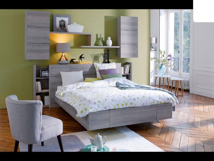 Lit 160x200 cm WAVE coloris blanc - Promo Lit Conforama - Ventes-pas