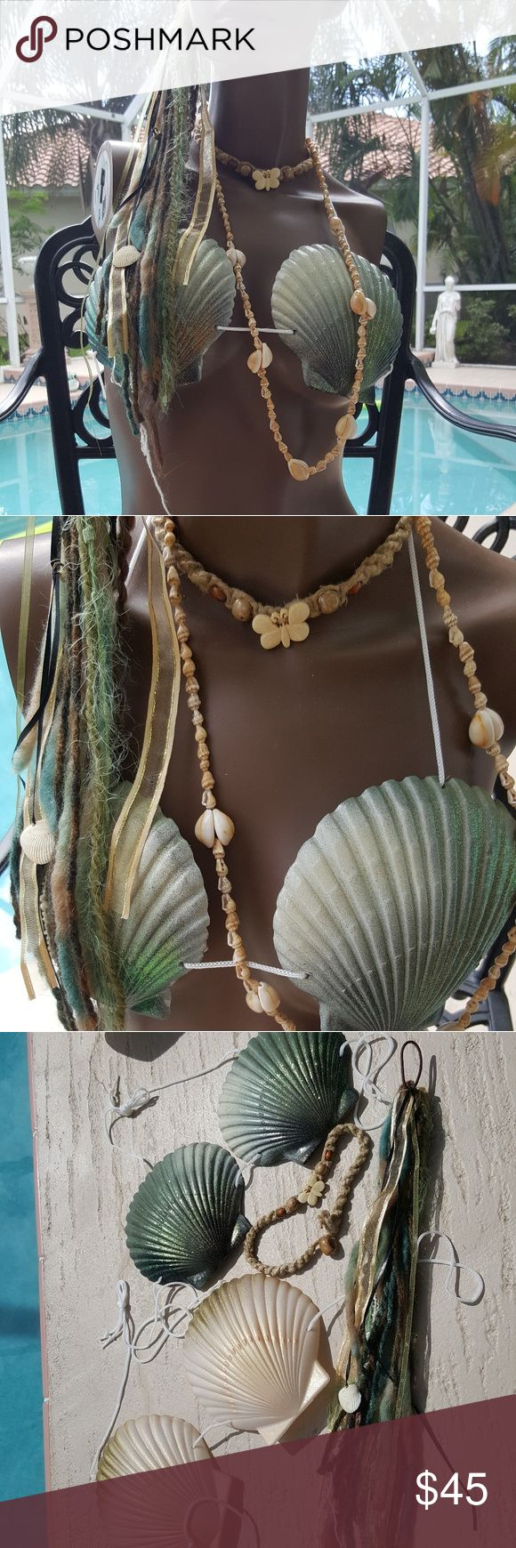 MERMAID SEASHELL SHELL TOPS & HAIR FALL & JEWELRY This Gorgeous Lot contains 2 beautiful SHELL TOPS (bikini TOPS, shells are plastic). 1 SEXY Hair Fall. 2 Necklaces, the smaller one has been worn a few times in the Ocean. This tops can be worn in the water. I am selling these AS-IS, as these have been GENTLY USED. MERMAID / SIREN SWIM BEACH FESTIVAL WEAR COACHELLA COSPLAY DANCE COSTUME Swim