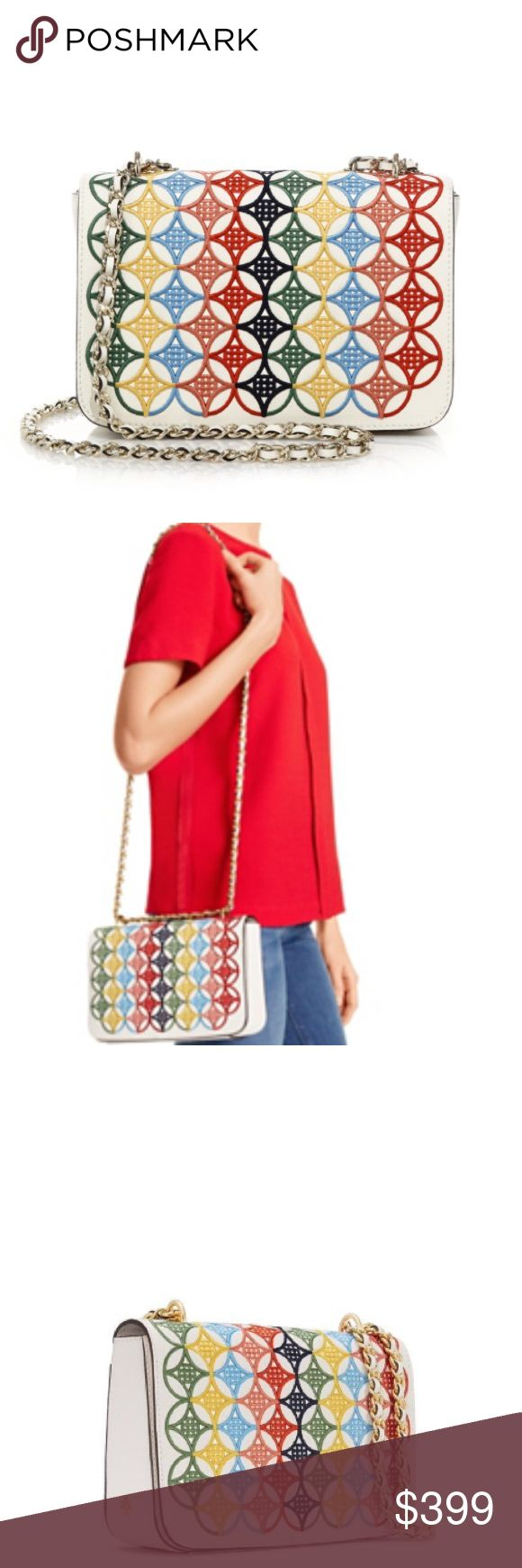 "Tory burch multi color shoulder bag Gorgeous embroidered shoulder bag from the Robinson collection by Tory burch! More pictures will be posted ! 5.9"" x 8.9"" x 2.5"" . Chain strap drop 23.3"" Tory Burch Bags Shoulder Bags"