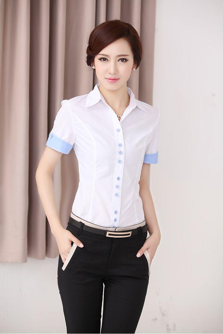 novo chegou 2014 mulheres verão escritório algodão blusa de manga curta moda cor sólida camisas casuais mais tops tamanho roupas xxl US $9.49