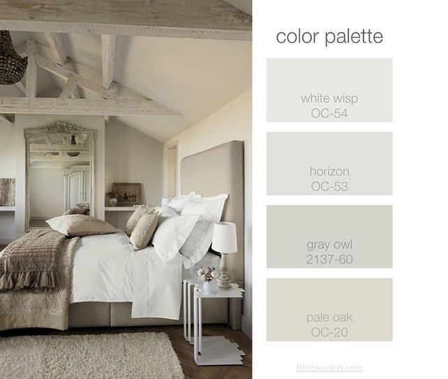 Bedroom Color Palette. Greige Bedroom Color Palette. White Wisp OC-54 Benjamin Moore. Horizon OC-53 Benjamin Moore. Gray Owl 2137-60 Benjamin Moore. Pale Oak OC-20 Benjamin Moore. BenjaminMooreWhiteWisp BenjaminMooreHorizon BenjaminMooreGrayOwl BenjaminMoorePaleOak BedroomColorPalette ColorPalette GreigeColorPalette Via Little Blue Dish.