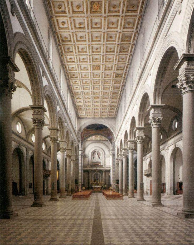 Filippo Brunelleschi, Basilica di San Lorenzo, dal 1418. Firenze. Veduta dell'interno verso l'abside.