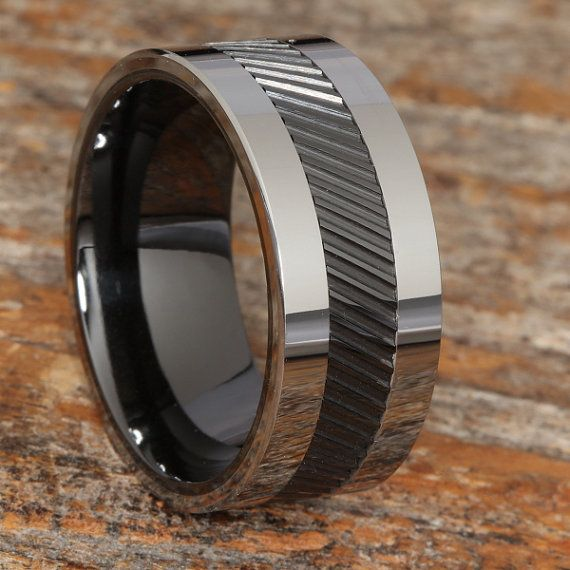 Tungsten Rings For Men Black Ceramic Inlay Ring Black Wedding Band Mens Tungsten Ring Black Ring Mens Wedding Band Mens Unique Ring Black Tungsten Rings Black Rings Tungsten Wedding Bands