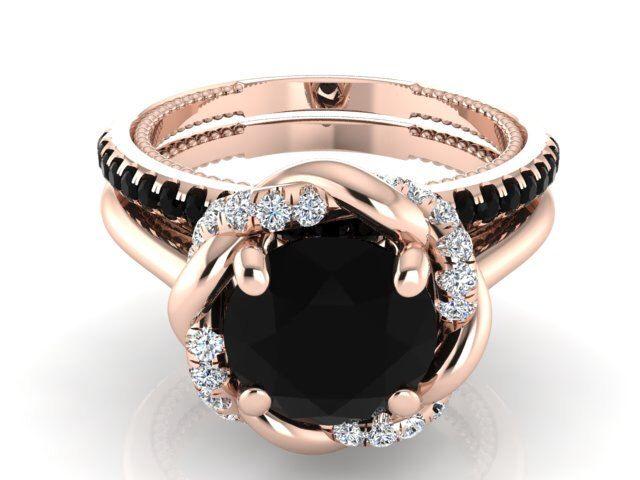 Unique Wedding ring set, Diamond wedding ring set, Rose gold Engagement ring set, Black and white diamonds Bridal ring, Bohemian Weddingring by BridalRings on Etsy https://www.etsy.com/listing/255589343/unique-wedding-ring-set-diamond-wedding