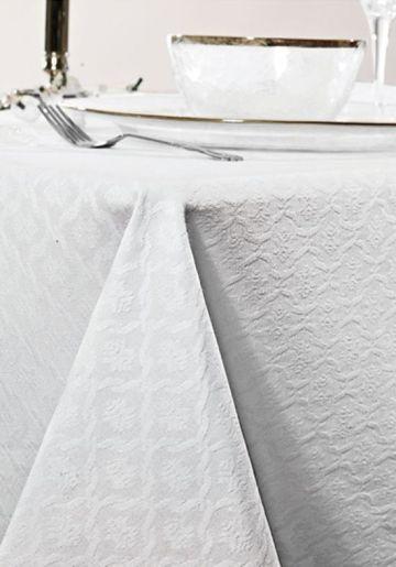 Teflonbelagt duk med vevd mønster. Væske trekker ikke inn i duken, men tørkes lett av med en fuktig klut. 55% polyester, 45% bomull. Vask 40 grader. (ikke bruk skyllemiddel).