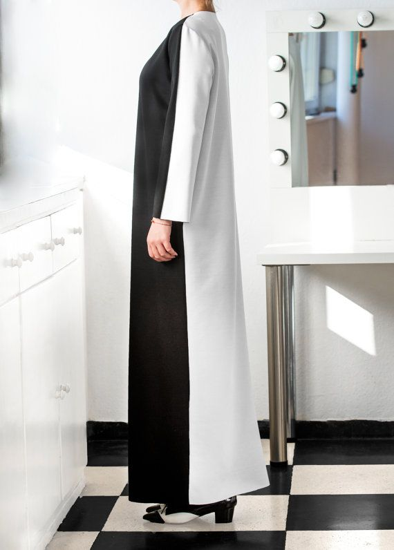 Black and White Elegant Dress with pockets  by cherryblossomsdress
