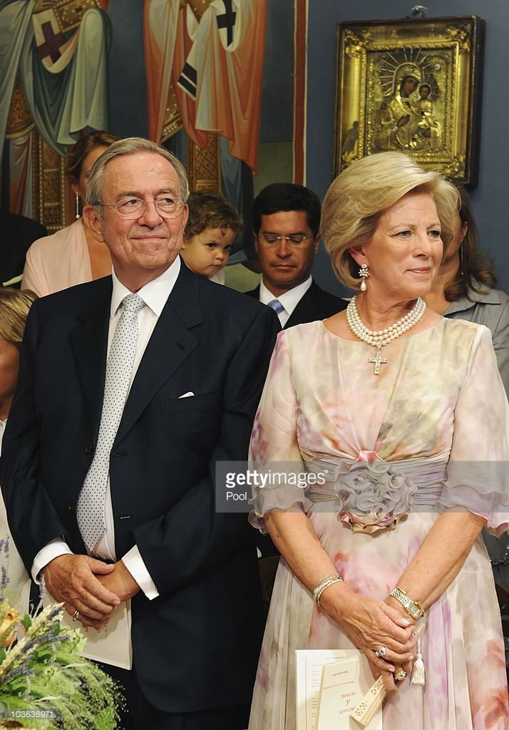 King Constantine of Greece (L) and <a gi-track='captionPersonalityLinkClicked' href=/galleries/search?phrase=Queen+Anne-Marie+of+Greece&family=editorial&specificpeople=160312 ng-click='$event.stopPropagation()'>Queen Anne-Marie of Greece</a> attend the wedding ceremony of their son Prince Nikolaos of Greece to Tatiana Blatnik in the Cathedral of Ayios Nikolaos (St. Nicholas) on August 25, 2010 in Spetses, Greece. Representatives from Europe�s royal families have joined the many guests who…