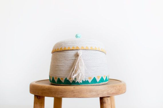 Cute little cotton basket with linen tassel with hand-painting gold and green triangels and little crochet cotton mint ball.  Size: height approximately 16 cm (with crochet ball), diameter 17cm  ***spot clean only, do not wash in the washing machine    MADE TO ORDER - TIME ON THESE ITEMS IS 1-2 WEEKS