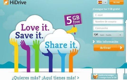 HiDrive, 5 Gb gratuitos para guardar tus archivos en la nube  HiDrive  es uno de ellos, regalando a las cuentas gratuitas una capacidad de almacenamiento de 5 Gb. Esta se puede ampliar hasta doblarse, alcanzando los 10 Gb, si invitamos a nuestros conocidos a que se unan a este servicio.
