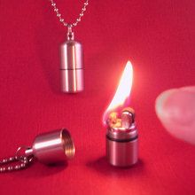 Teeny lighter necklace can be used as a quick candle.