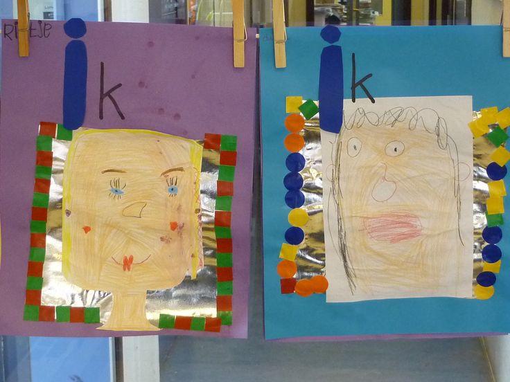 zelfportret op een spiegel - dit ben ik - thema familie - juf Ester Klaver