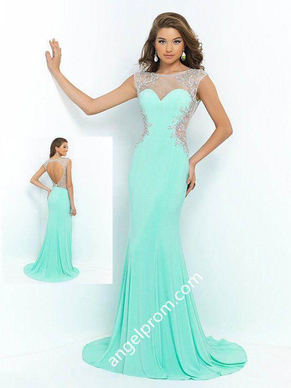 2015 Style Trumpet/Mermaid Bateau Sweep/Brush Train Chiffon Prom Dresses/Evening Dresses