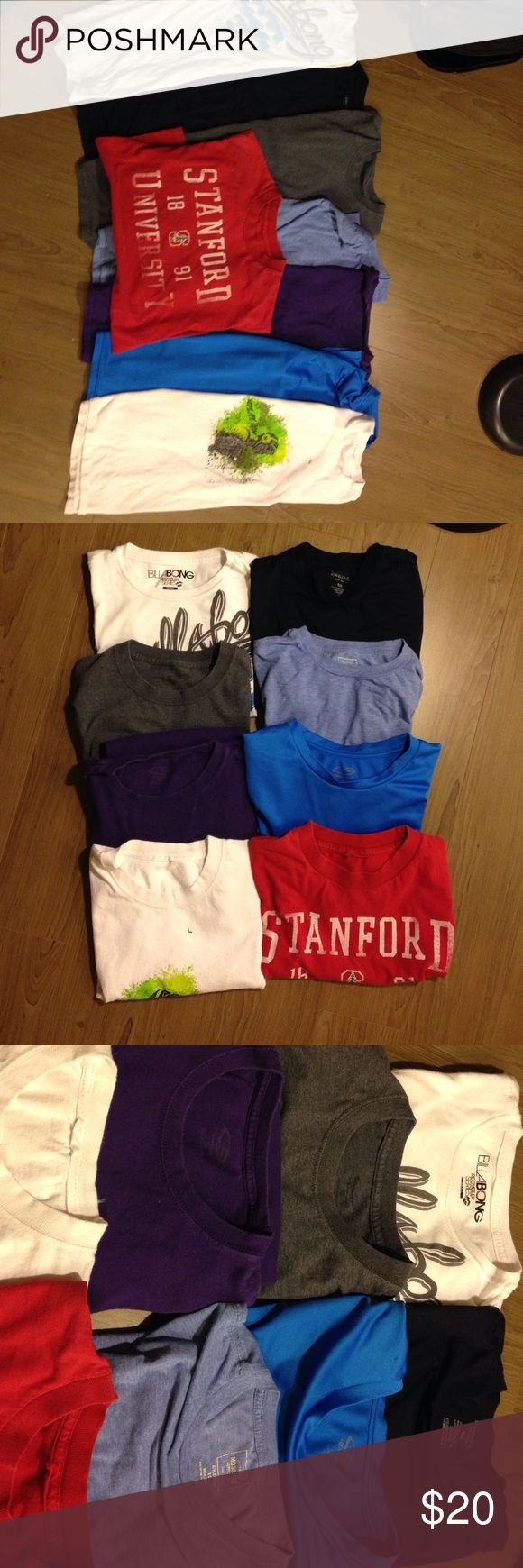 Bundle of 8 t-shirt, short sleeves ‼️ This bundle has: 1. White adult small billabong 1. Black small adult haggar 1 gray champion adult small, 1. Aqua champion adult small, 1 purple champion adult small, 1. light blue MOSSIMO supply CO, small adult 1. White no brand and 1. Red Stanford t-shirt. All are in good condition except for the red,it is in fair condition. Shirts & Tops Tees - Short Sleeve