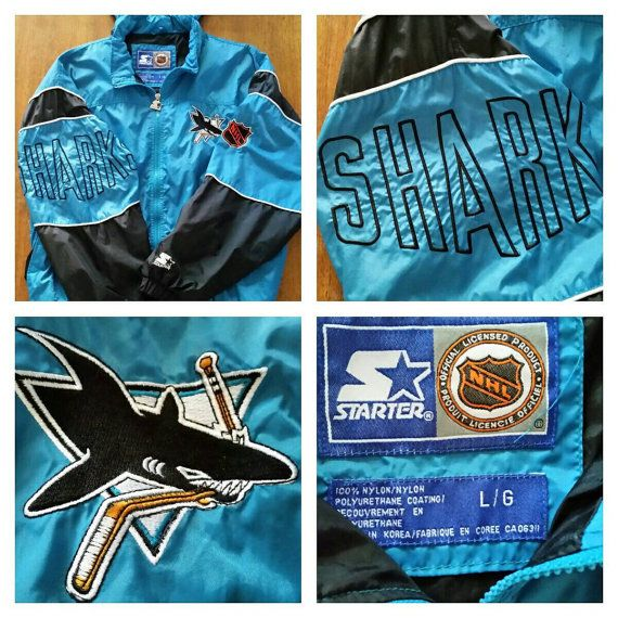 Check out this item in my Etsy shop https://www.etsy.com/ca/listing/257224318/salevtg-90s-san-jose-sharks-nhl-starter