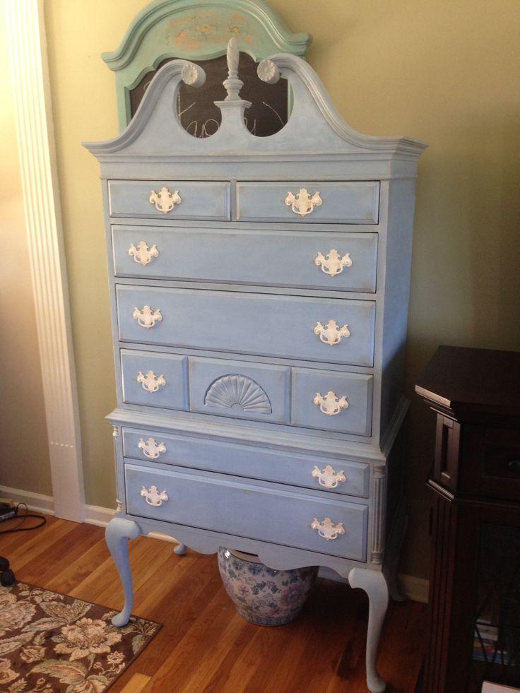 Restyled High Boy Dresser in Annie Sloan Louis Blue Chalk Paint Sealed in Clear and Dark Wax