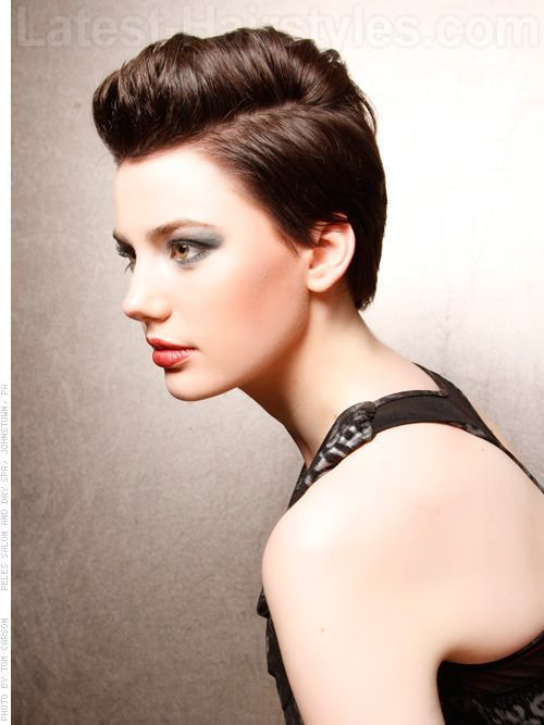 Faux Hawk; A pixie with the top middle left a little on the long side
