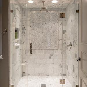 Marble Shower ledge, Transitional, bathroom, Archer Buchanan Architecture