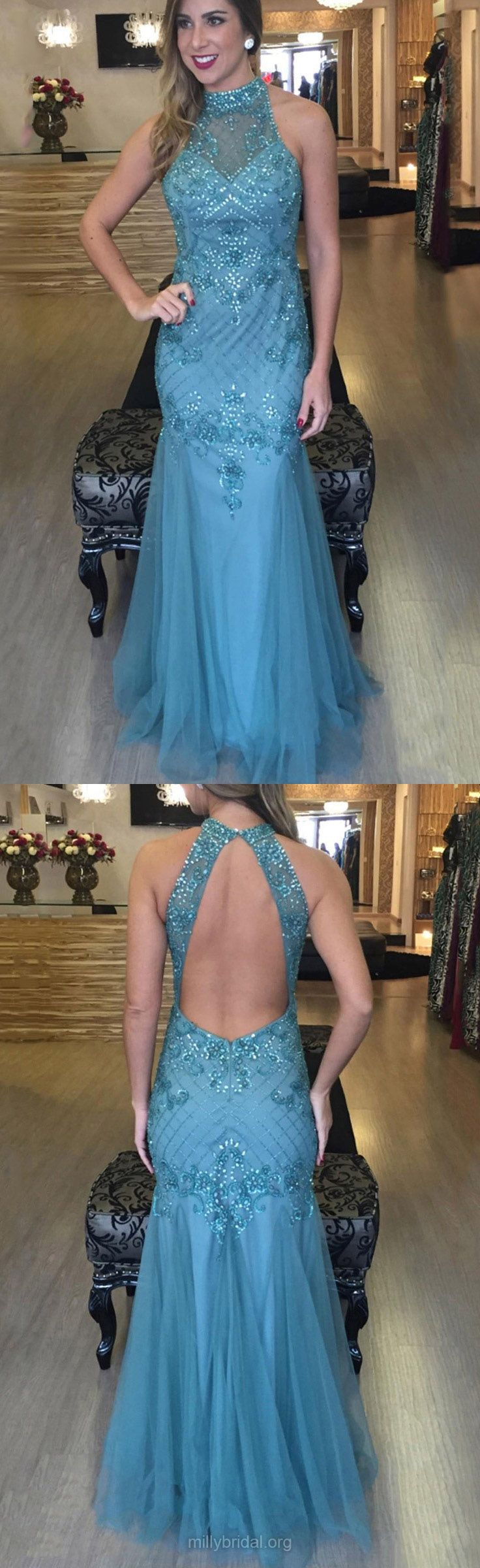 Blue Prom Dresses Long, Mermaid Formal Dresses 2018, High Neck Tulle Party Dresses Beading, Open Back Evening Gowns Cheap