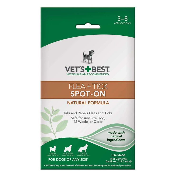 "Vet's Best Dog Flea & Tick Spot-On Formula 0.6oz White 4"" x 1.38"" x 6.75"""