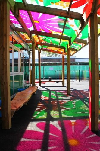 transparante prints op buitenraam outdoor classroom | Canopies and Outdoor Classrooms