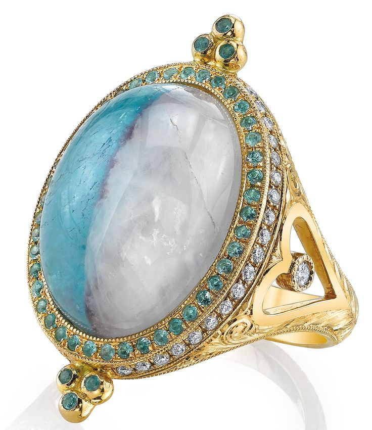 Divided Sky paraiba-in-matrix ring with diamonds in 18k yellow gold by ERICA COURTNEY.