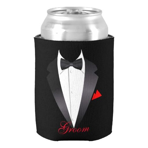 Men's Tuxedo Shirt Groom - Can Cooler Wedding Supplies Gifts Favors Custom Beer Holder for Groom Personalized Beverage Insulator