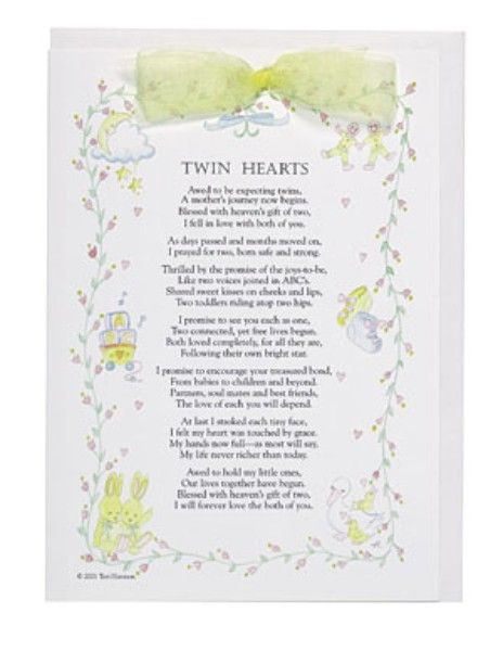 Twin Hearts Greeting Card With Keepsake Poem Our Quot Little