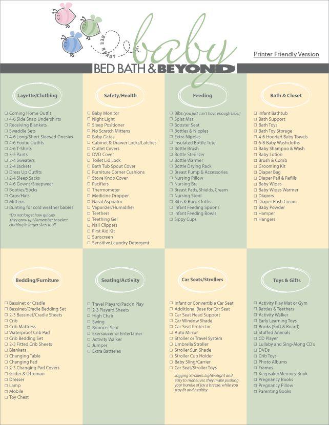 checklist for baby stuff