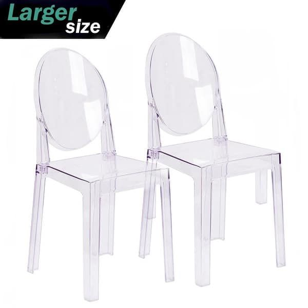 2xhome Set Of 2 Larger Plastic Designer Armless Side Chair