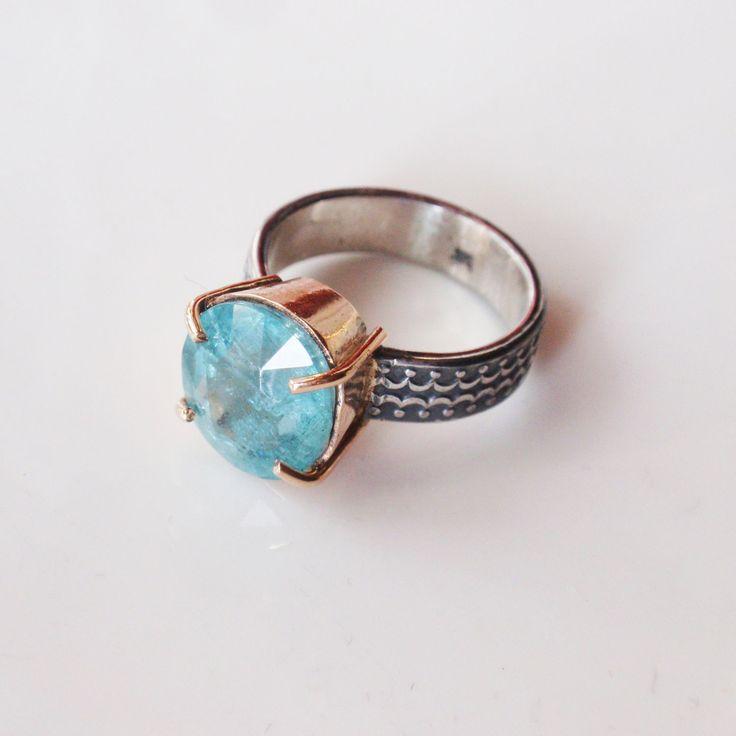 """Купить Кольцо """"Kydonia"""". Аквамарин, серебро, голдфилд - голубой, кольцо с аквамарином, аквамарин, аквамарин натуральный"""